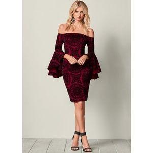Venus Wine & Black Sleeve Detail Dress